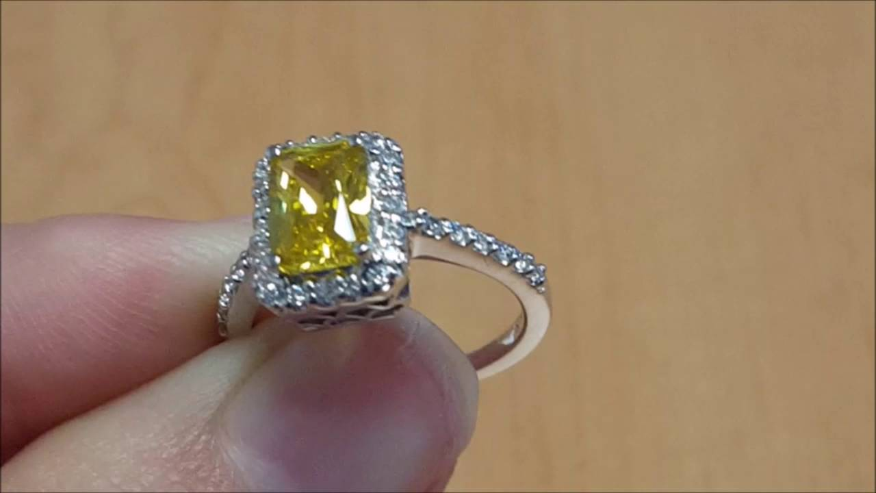 square yellow canary natural white diamond gold cttw round womens cluster engagement product rings ring