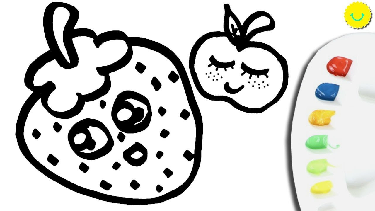 Coloring Strawberry Pages for Kids - How to draw kawaii fruits