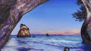 Night Beach Cave Acrylic Painting LIVE Tutorial