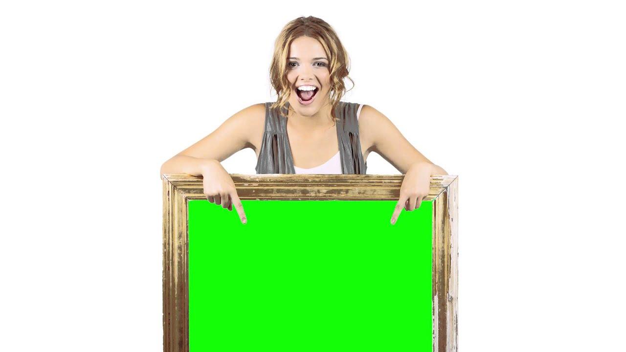 Happy Girl holding Green Screen frame HD - YouTube