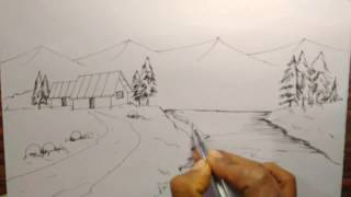 How to draw a  country landscape for kids