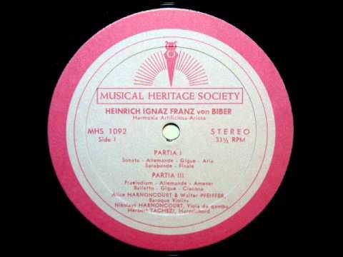 Von Biber / Alice Harnoncourt, 1964: Harmonia Artificiosa-Ariosa (1696) - Partita III