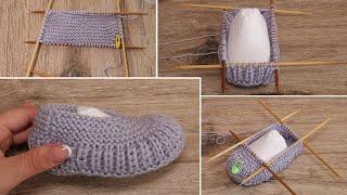 Детские следки спицами | Children's slippers kniting pattern