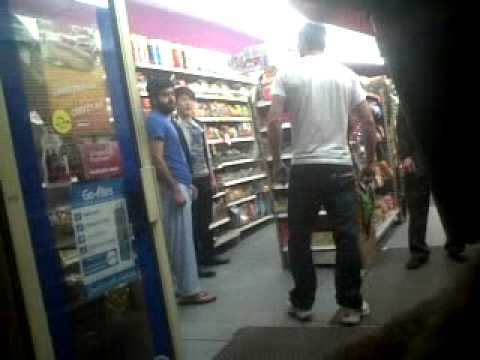 Chinese and Eastern European dudes fight in London Shop