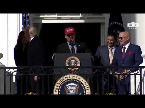 Nationals Baseball Player Shocks Trump When He Dons MAGA Hat at the White Hose