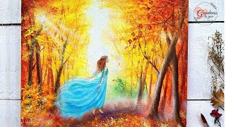 Step by Step Autumn Painting  for Beginners / Acrylic Painting Tutorial