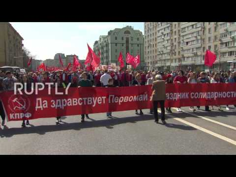 Russia: Communist Party supporters march through Moscow on May Day