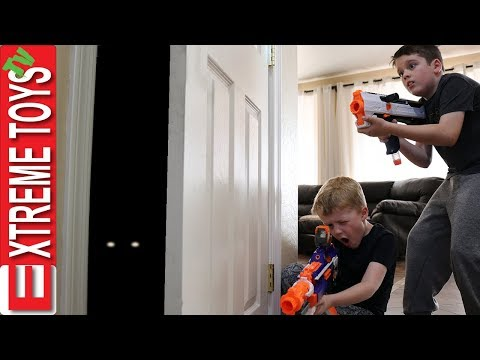 Mystery Creature Attack! Ethan Vs. Cole Monster Nerf Battle.