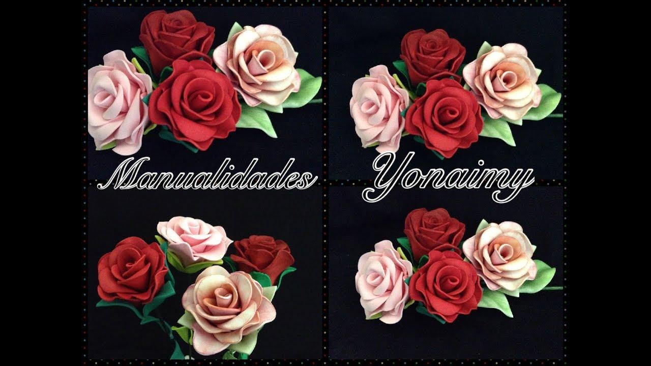 Flores de foamy o goma eva que puedes ver paso a paso como hacer en mi canal youtube - Flores sencillas de goma eva ...