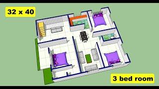 32 x 40 house plan design II 3 bhk house design II 32 x 40 ghar ka naksha