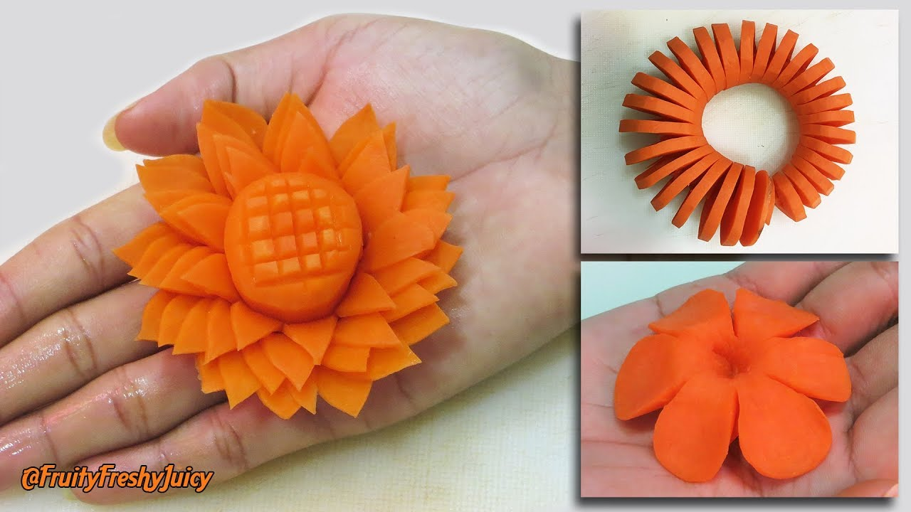 3 Amazing Carrot Garnishes for Food Designs & Decorations | Champey, Sunflower & Spiral Carv