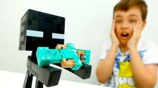 Видео про #Майнкрафт: игра и реальность! Глеб ИгроБой и Стив исследуют пещеру.