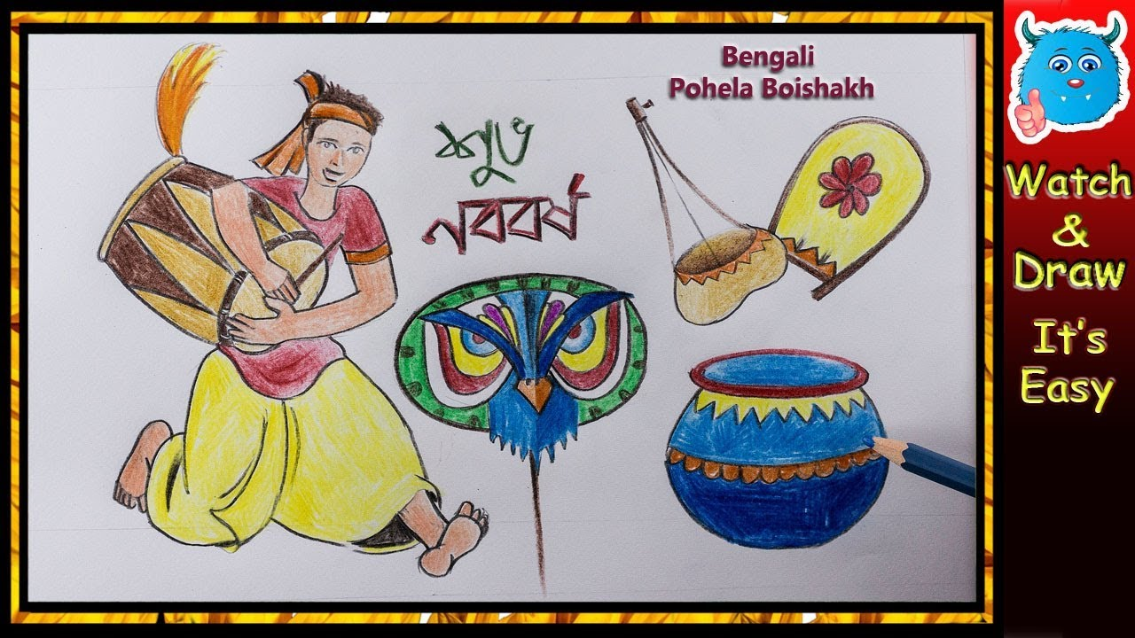 Bengali new year pohela boishakh drawing idea for handmade greeting bengali new year pohela boishakh drawing idea for handmade greeting card poster m4hsunfo