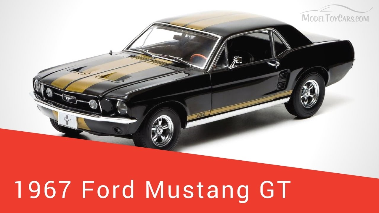 1967 ford mustang gt black w gold stripes greenlight 12897 118 scale diecast car
