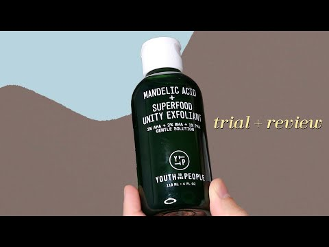 youth to the people mandelic acid + super food unity exfoliant   trial + review