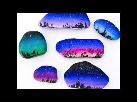 Fantasy Landscape Silhouette Painted Rocks