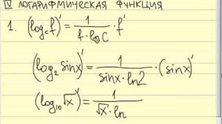Таблица производных 4  Логарифмическая функция
