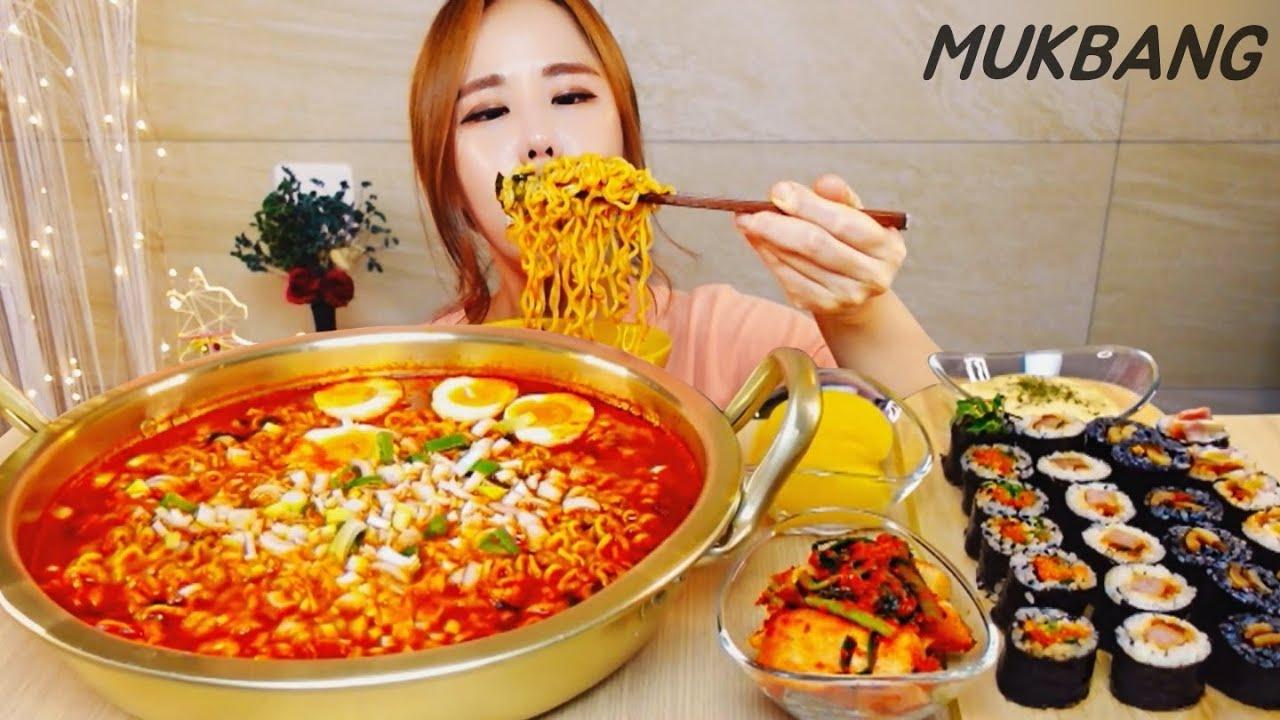 SUB) 염라대왕라면X4 세계에서 제일 매운 라면🌶🌶🌶🌶🌶 스쿨푸드마리 먹방 MUKBANG ASMR eating show