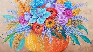 Autumn Floral Pumpkin Bouquet Acrylic Painting LIVE Instruction