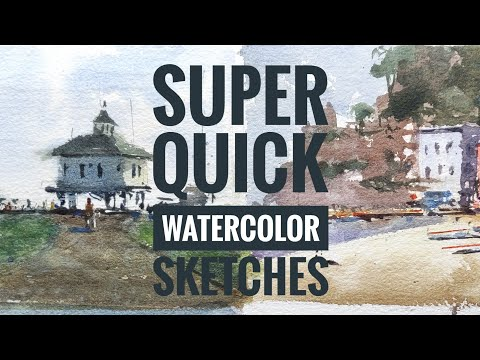SUPER QUICK Watercolor Sketches| Beginner's tutorial| Watercolor painting thumbnail