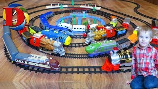 Железная дорога - видео про машинки. Железнодорожный транспорт: Поезд, Паровозик / Обзор игрушки