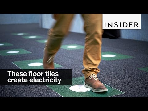 These floor tiles create electricity from footsteps
