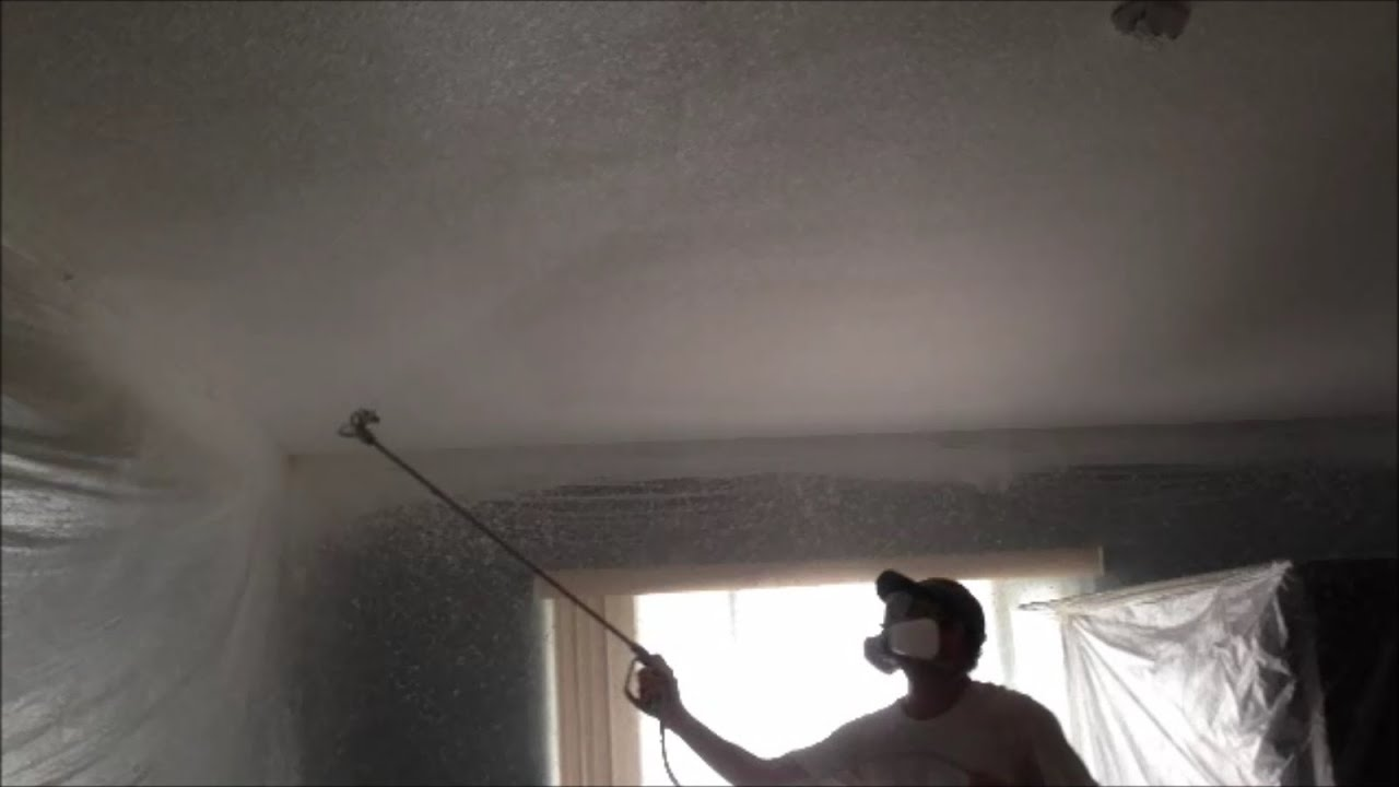 Knockdown Textured Ceiling Spraying Primer Paint And Backrolling New Knockdown Ceiling