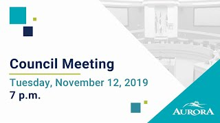 Youtube video::November 12, 2019 Council Meeting