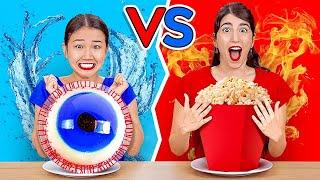 TANTANGAN WARNA MERAH VS BIRU || Makan Makanan Satu Warna 24 Jam Penuh oleh 123 GO! CHALLENGE