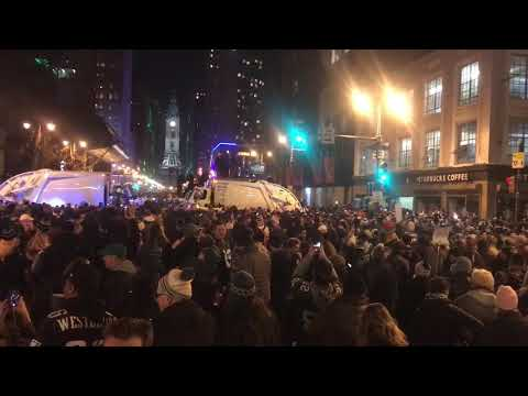 The scene on Broad Street after the Eagles won the Super Bowl