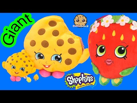 Shopkins Giant Season 1 Kooky Cookie + Strawberry Kiss Plushy Pillow Toys - Cookieswirlc
