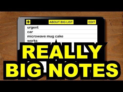 Big List Large Print List Maker Notes App for Low Vision Visual Impairment