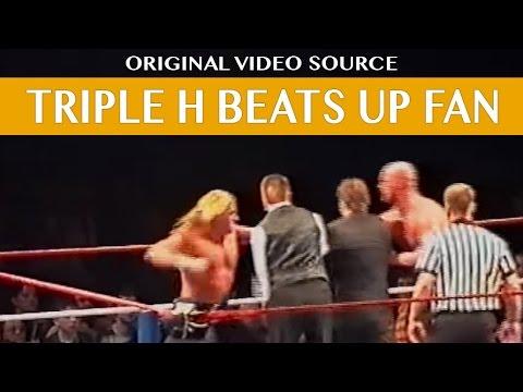 Wrestler TRIPLE H beats up a FAN !!! - FAN attacks Wrestler STEVE AUSTIN
