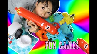 Toilet trouble - Hungry hippos  - Silly sausage - GAMES - family games - playing funny games