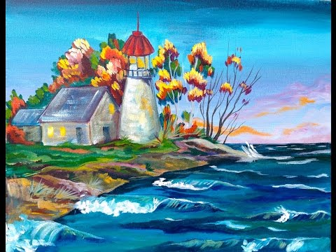 Acrylic painting tutorial  | Fall Lighthouse | The Art Sherpa