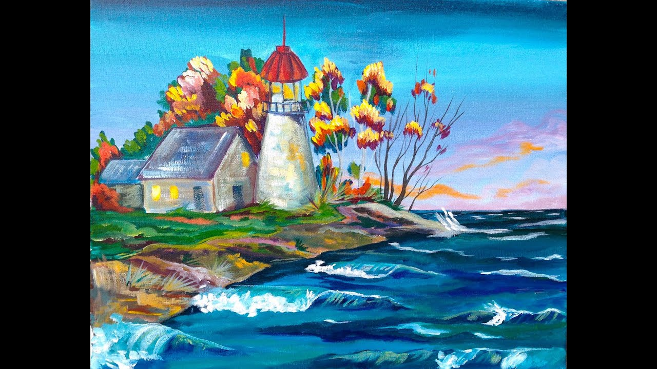 Acrylic painting tutorial fall lighthouse the art for Acrylic paint mural
