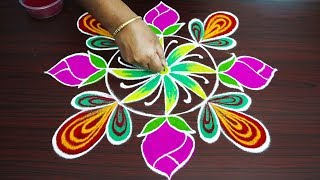 Simple freehand colour kolam for beginners rangoli art designs friday muggulu designs
