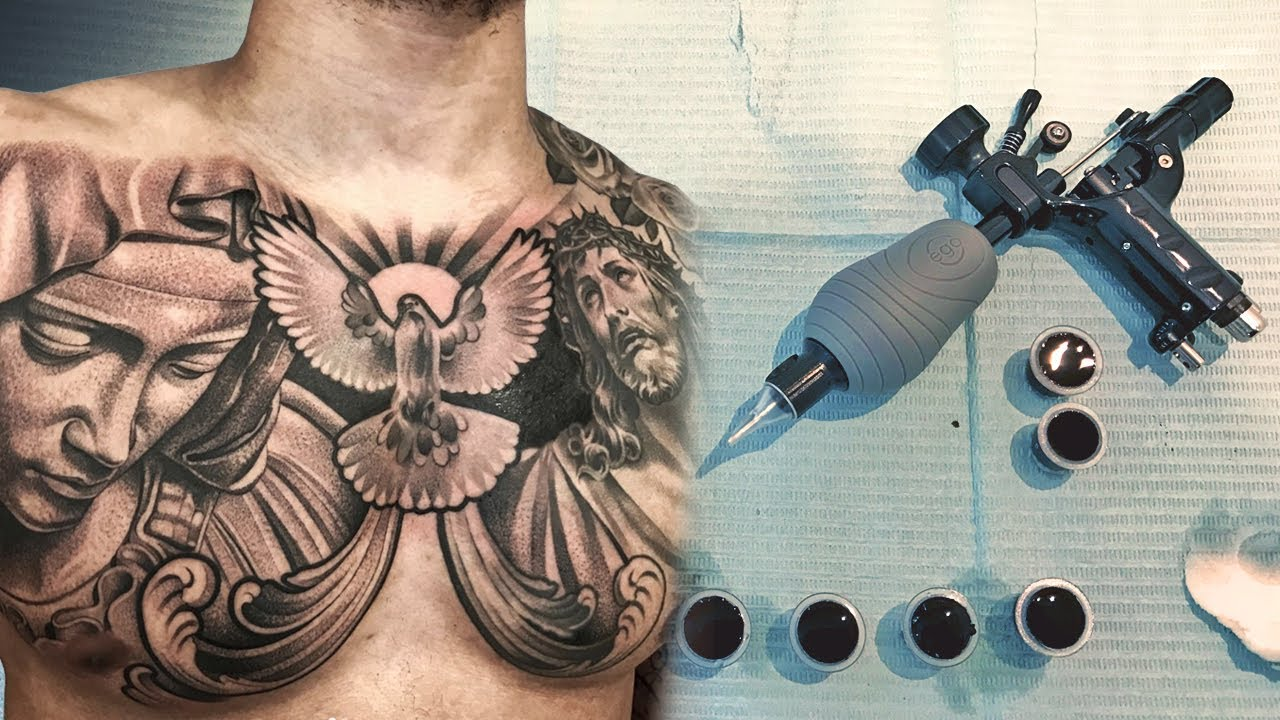 Tattoo Timelapse Virgin Mary Dove And Jesus Youtube