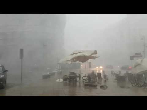 Crazy weather destroys café in Warsaw, Poland