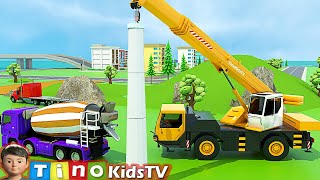 Mobile Crane & Construction Trucks for Kids | Wind Turbine Construction