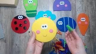 Развивающая игра из фетра ''Забавные прищепки''. Игра от которой ваши дети будут в восторге!!!
