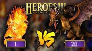 1 Fenix vs 20 Rdzawych Smoków - Heroes 3 (Mapa: Żniwiarz Dusz)
