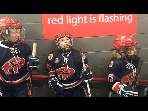 Kids Hockey Buffalo Regals take on Burlington Eagles during Buffalo Bills Playoff Game