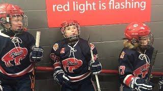 Kids Hockey Buffalo Regals take on Burlington Eagles during Buffalo Bills Playoff Game