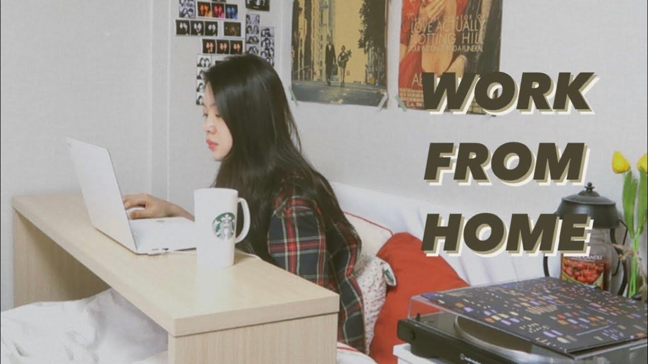 VLOG 직장인 브이로그|재택근무 일상 🏠 & 베드테이블 최고 🛏|홈파티룩|자취생 삼시세끼|WORK FROM HOME 👩🏻💻