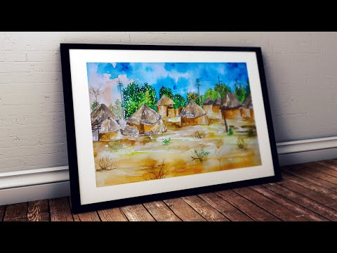Watercolor painting for beginners African Landscape Village Desert Hut Trees Scenery Easy Tutorial