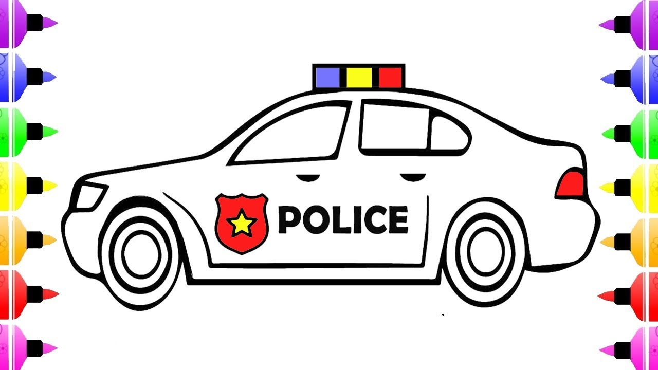 How To Draw Police Car Coloring Pages For Kids And Drawing