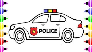 How to Draw Police Car Coloring Pages for Kids and Drawing for Kids