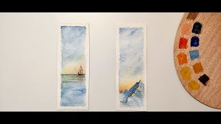 Watercolor Bookmarks / Sea & Mountain / Speed painting / Caran d'Ache  Museum