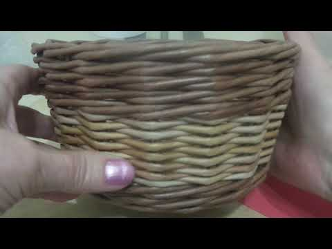 Корзинка- конфетница. Для начинающих плетунов. Плетение из бумажной лозы. Часть 2.